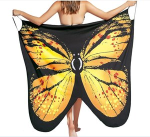 Beach Cover Up 2019 sexy print Butterfly Bikini traje de baño Cover Ups Beach Dress Women Beach túnica Sarong Robe Plage DHL Envío gratis