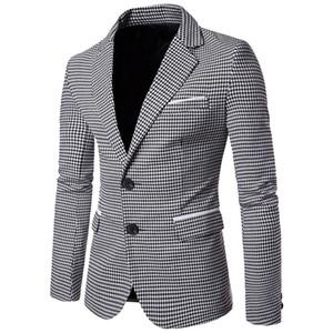 NIBESSER Casual Plaid Print Hommes Blazer À Manches Longues Robe De Mariage Manteau Automne Blanc Social Business Hommes Blazer Veste