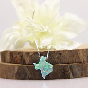 (1pc / lot) collier d'opale synthétique 925 Sterling Silver USA État Menthe couleur opale Texas carte d'argent bijoux femmes collier pour cadeau