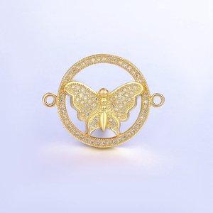 Venta al por mayor Micro Pave Circón Rhinestone Accesorios de cobre Círculo Dentro de Conectores de mariposa Resultados de la joyería Componentes Fabricación de accesorios