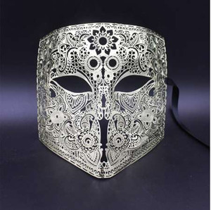 Gold Silver Full Face Bauta Phantom Cosplay Máscara veneciana de la mascarada Cráneo negro Halloween Shield Mardi Gras Metal Party Mask