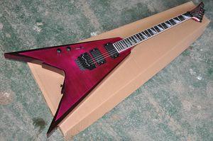 Personalizado de fábrica Mão Esquerda Voando V Guitarra Elétrica com 2 Pickups, Corpo de Mogno, hardware Preto, Rosewood Fretboard, pode ser personalizado
