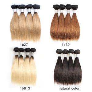 Peruanische preiswerte Ombre blonde Menschenhaar-Webart-Bündel 50g / Bündel 10-12 Zoll 4 Bündel / gesetzte natürliche Remy Haar-Verlängerungen des geraden Haares