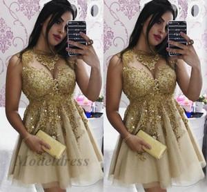 Champanhe Vestidos Homecoming com Apliques de Renda Dourada Pescoço Simples Sexy Elegante Curto Vestidos de Festa de Baile Uma Linha de Tule Vestido de Festa Formal Noite