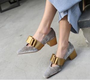 Große Fliege Velvet Kleid Schuhe Square Toe Mid Heel Fashion Hot Damen Abendgesellschaft Schuhe