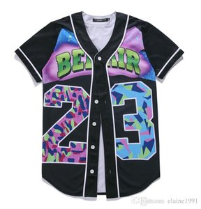 Мужская однобортный 3D рубашка уличная хип-хоп лето футболка 23 свежий принц холод цветок Overshirt Бейсбол Джерси M-3XL