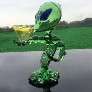6.3 '' Inç Yeşil ET Sigara Nargile Cam Alien Su Boru Handy Cam Tütün Bong Su Filtresi Şişe Yağı Rig Boruları