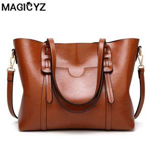 MAGICYZ 여자 핸드백 지갑 핸드백 왁싱 가죽 여자 어깨 가방 dames tassen 대용량 휴대용 메신저 가방 D18102303