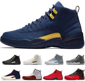 vendita calda 12 College Navy scarpe da basket 12 s International Flight Vachetta Michigan rosso lupo grigio scarpe da ginnastica bianche Sneaker taglia US 7-13