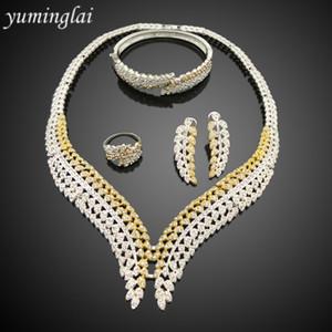 طقم مجوهرات مطلية بالذهب والفضة في دبي الأفريقية ، شكل أوراق الزركون ، مجموعة مجوهرات الزفاف FHK3122
