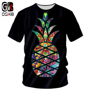 OGKB 2018 Summer Top Donna / uomo Funny Print Ananas 3D T-Shirt Uomo Nero Hiphop Streetwear Punk O Collo Tee Shirts Homme