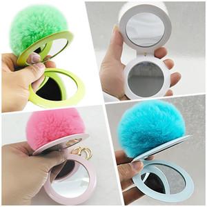 Fur Ball Mirror Keychain Charm PomPom Keyholder Women Ladies Makeup Mirror Wholesale Girls Gift