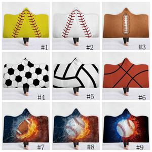 Cobertores de beisebol futebol futebol cobertores com capuz softball 3d impresso esporte sherpa cobertor crianças adultos inverno plush capa de toalha gga1848