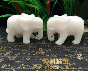 Boutique de Afganistán, jade blanco, decoración de fengshui, un par de dinero, agua, elefante, jade, elefante blanco, etc.