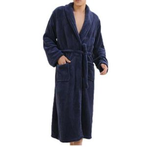 Thicken Coral Flannel 목욕 가운 남성 가을 겨울 목욕 가운 캐주얼 잠옷 롱 남성 여성 잠옷 로브 Homewear Pajamas