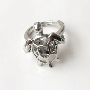 {Cage Ring} Can Open And Hold 8mm Pearl  Crystal  Gem Bead Cage Ring Mounting, 18kgp Adjustable Size Turtle Ring
