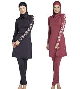 Nuovo costume da bagno musulmano nero e rosso protezione solare costumi da bagno donna islamica modesto costumi da bagno con fiori stampati musulmani vestiti per il nuoto donne