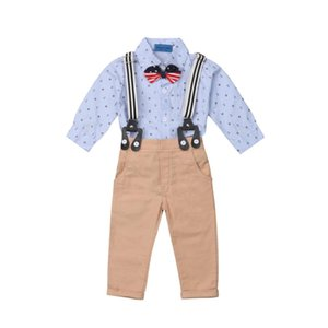 2018 Newly Autumn Toddler Kids Boys si adatta 2PCS Wedding Gentleman Suit Formal Party Stampa Bowknot Shirts Top + Bib Pants 0-3Y