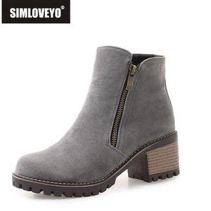 SIMLOVEYO Flock Stivaletti per le donne Stivali antiscivolo Low Heel Zipper Solid Casual Punta rotonda Scarpe donna Botas Feminina B1006