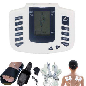 Slipper + 4pcs Elektrodenpads Elektrischer Muskel-Stimulator-Körper entspannen sich Massager Puls-Akupunktur-Therapie-Digital-Zehn-Maschine