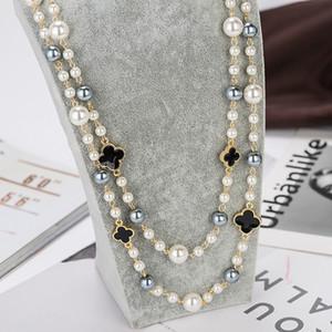 Imitações de alta qualidade Colares Longos de pérolas para mulheres elegantes jóias de festa colar de ouro de dupla camada