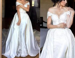 Elegant Sheath Wedding Dresses With Detachable Train Off The Shoulder Lace Appliques Beads Bridal Gowns Long Train Overskirts Wedding Dress