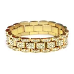 Solid Gold Banhado A Prata CUBAN LINK Brilhante Diamante Pulseiras Hip Hop Bling Moda Jóias Hipster Homens Pulseira Bangle