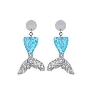 Neue Mode DIY Handgefertigte Tropfen Ohrring Kleine Meerjungfrau Glitter Schwanz Baumeln Ohrringe Frauen Schmuck Meerjungfrau Schwanz Fischschuppen Ohrring