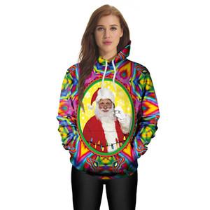 3D Baskılı Noel Kazak Santa Claus Hoodies Renkli Eşofman Erkekler / Kadınlar Hoodies Kazak Üst Coat Giysileri