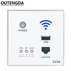 300M New In-Wall AP Access Point Wireless WiFi router USB-Tomada de carregamento Wall Mount WiFi AP Router com criptografia WPS