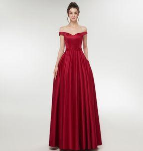 Real Foto V-collo elegante fuori dalla spalla A-Custom Line lungo Borgogna abiti da sposa più il formato Piano Lunghezza maxi vestito per la festa nuziale