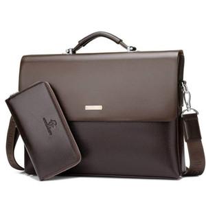 Borsa da uomo d'affari di marca Borsa da valigetta cuoio nero Borsa da ufficio portatile di lusso di grande stile