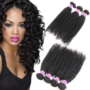 Non transformés 8A Brésilien Vierge Cheveux Vendeur Soyeux Crépus Bouclés Cheveux Humains Paquets Remy Péruvien Malaisien Indien Vierge Cheveux Extensions Trames