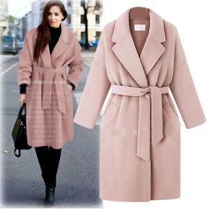 Plus Size Donna Soprabito Cappotto in misto lana Cappotto capispalla da donna Cappotti Lungo Tops Panno in lana Indumento Cappotto esterno da donna C3666