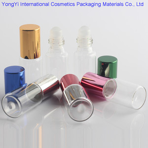 48pcs Clear Glass Essential Oil Roller Bottles with Glass Roller Balls Aromatherapy Perfumes Lip Balms Roll On Bottles 5ml 10ml