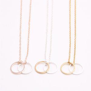 2018 figure géométrique collier pendentif deux cercle en creux collier plaqué le meilleur cadeau pour les femmes