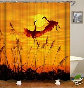 165 * 180 centímetros 180 * 180 centímetros impermeável fresco Papagaios Cocks Aves Cranes Padrão Projetado Impressão Digital Cortina Janela Banho de chuveiro com Hooks