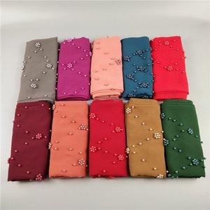 20 UNIDS bonita color perla llana burbuja chiffon chales musulmanes hijab mujeres primavera diadema envolver bufandas