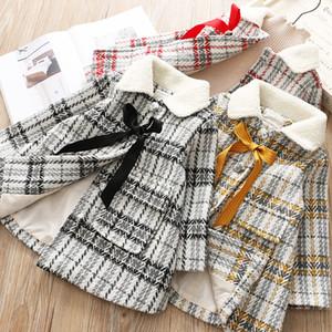 DUO MI BAO Han edition girl child qiu dong with grid cloth coat female baby girl children woolen cloth coat lapels