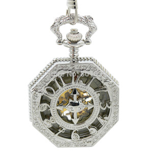 Silver Tone Gloss Finish Alloy Metal Big Size Fashion Men's Pocket Watch with Chain