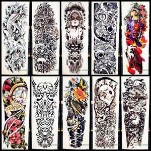 Plein bras Body Art Temporaire Tattoo Sticker Tribal Warrior Crâne Totem Pour Hommes Femmes Faux Machine Poisson Étanche Tatouage Autocollants