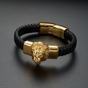 Punk Cool Men Bracelet Bangle Gold Lion Head Woven Braided Wild Animal Vintage Stainless Steel Jewelry Bracelets for Male