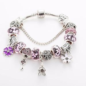 Braccialetto in perle di vetro di Murano blu / rosso / rosa per Pandora Bracciale in argento 925 placcato con ciondolo a forma di torre Eiffel