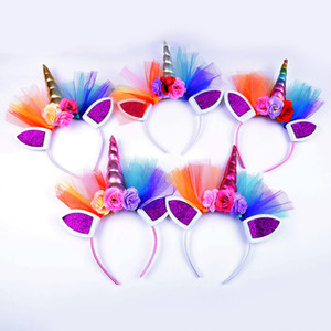 Rainbow unicórnio chifre hairbands com chiffon flores halloween bónus headbands para meninas crianças cabelo hoop
