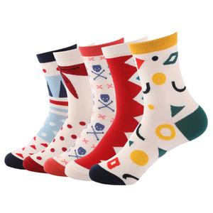 5 pairs Eur36-42 Frauen Herbst Winter Niedlichen Cartoon Tier Katze Baumwolle Socken Weibliche Mode Geometrie Muster Socken Damen Drop Shipping