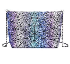 2018 Mode Fold Over Sac Femmes Décoloration Messenger Bag e Bao Bao Géométrie Sac à Main Diamant Lattice Chaîne Sac À Dos