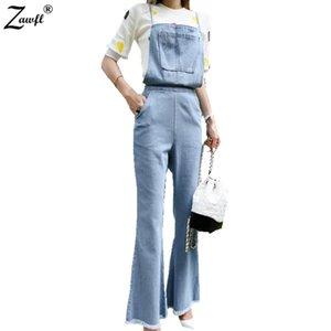 ZAWFL Yüksek Kaliteli Denim Tulum Kadınlar Denim Tulum Mavi Ripped Cepler Tam Uzunlukta Kot Tulum Kadın