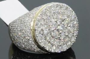 Hot plaqué or 18 carats Bague homme européen et américain Full Diamond Micro incrusté Zircon Ring Ring affaires