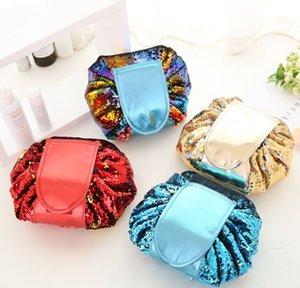 4 Colores Lentejuela Lazy Cosmetic Bag Maquillaje Bolsa de viaje portátil de gran capacidad Multifunction Travel Organizador Bolsa de almacenamiento