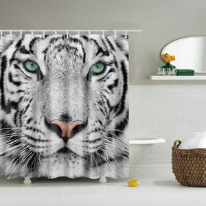 """Svetanya White Tiger Print Duschvorhänge Bad Produkte Badezimmer Dekor mit Haken Wasserdicht 71x71 """""""